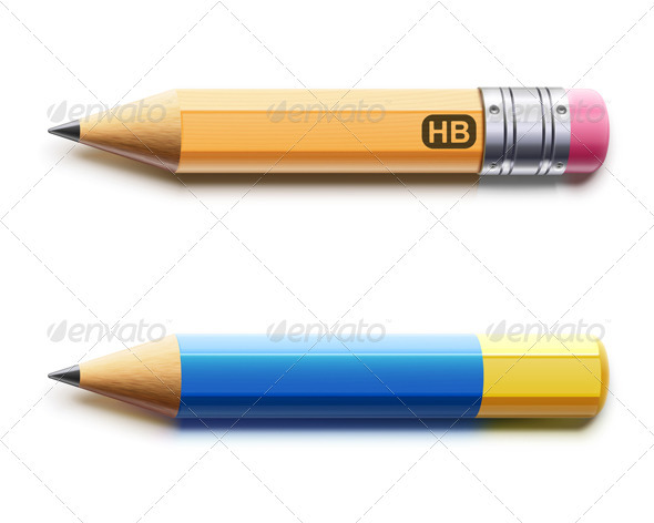 Two Sharpened Detailed Pencils - Objects Vectors