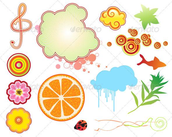 Summer Design Elements - Decorative Symbols Decorative
