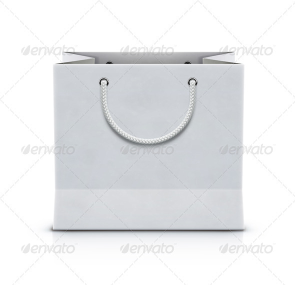 White Shopping Paper Bag - Objects Vectors