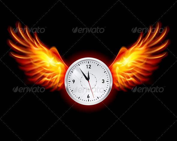 Clock with Fire Wings - Food Objects