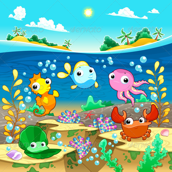 Happy Marine Family Under the Sea. - Animals Characters