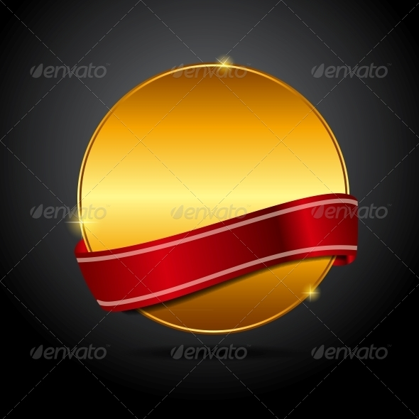 Vector Label with Red Ribbon. - Retail Commercial / Shopping