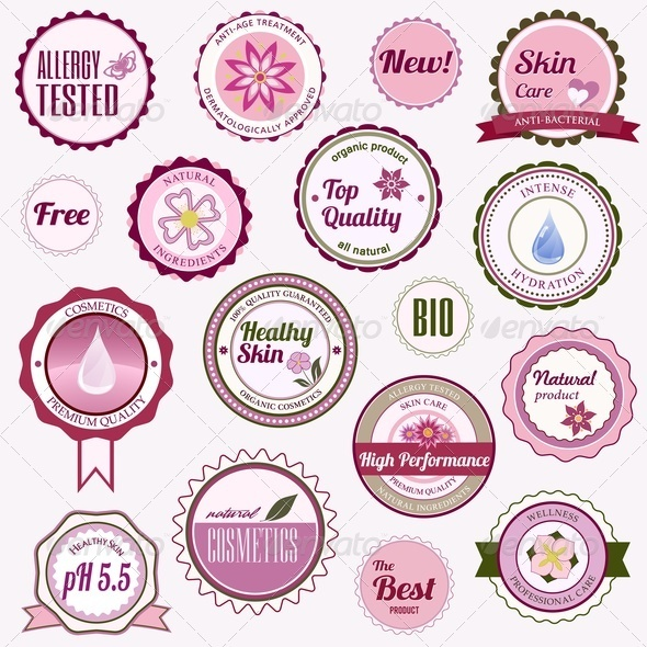 Set of Cosmetic Badges, Labels and Stickers - Retail Commercial / Shopping