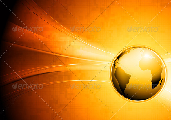 Technology Waves Background with Globe - Backgrounds Decorative