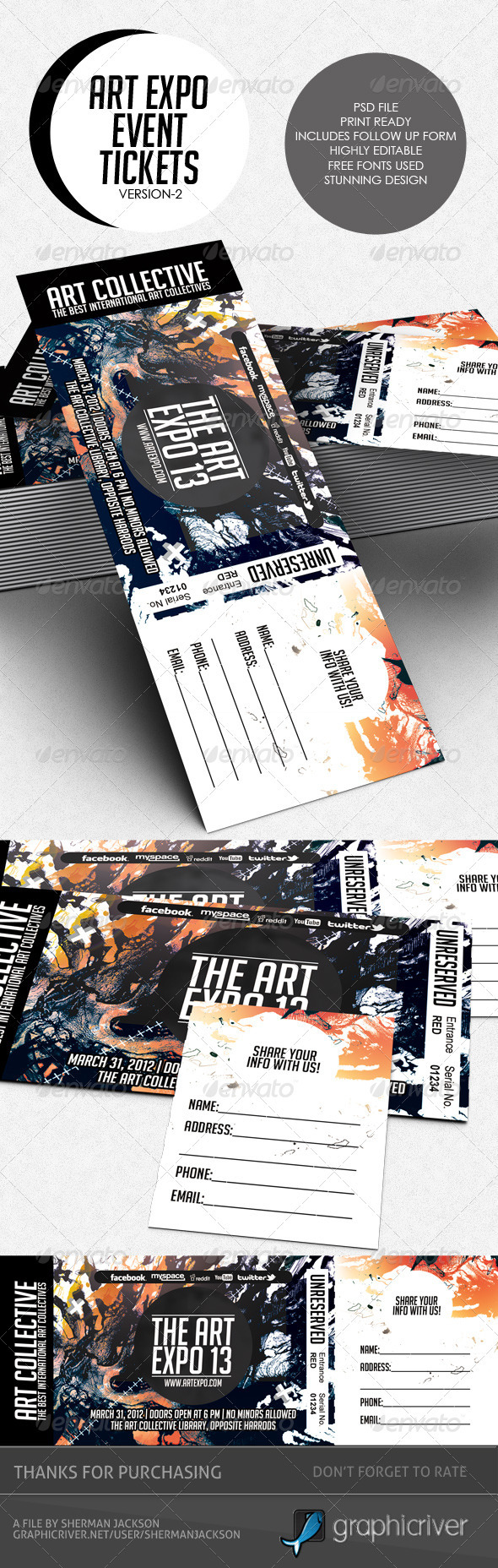 Art Expo Art Show Event Tickets & Passes V.2 - Miscellaneous Print Templates