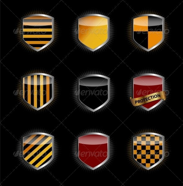 Protect Shield Set Vector Illustration - Web Elements Vectors