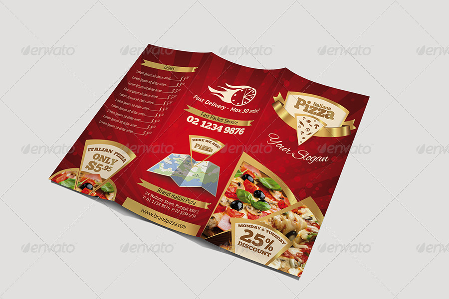 Trifold Brochure - Pizza Menu by hsynkyc | GraphicRiver