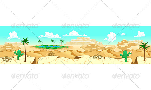 Desert with Oasis. - Landscapes Nature