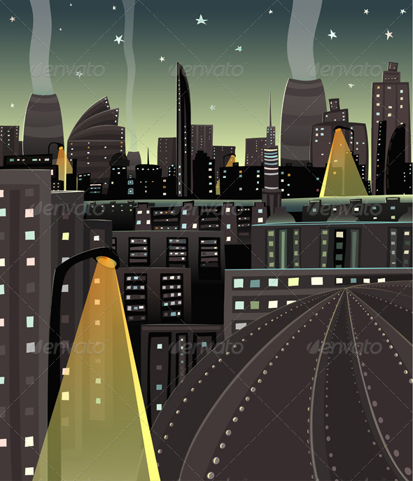 Night Cityscape Cartoon by Popmarleo | GraphicRiver