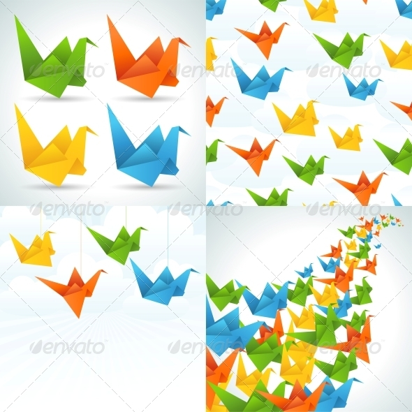 Origami Paper Birds Backgrounds. - Man-made Objects Objects