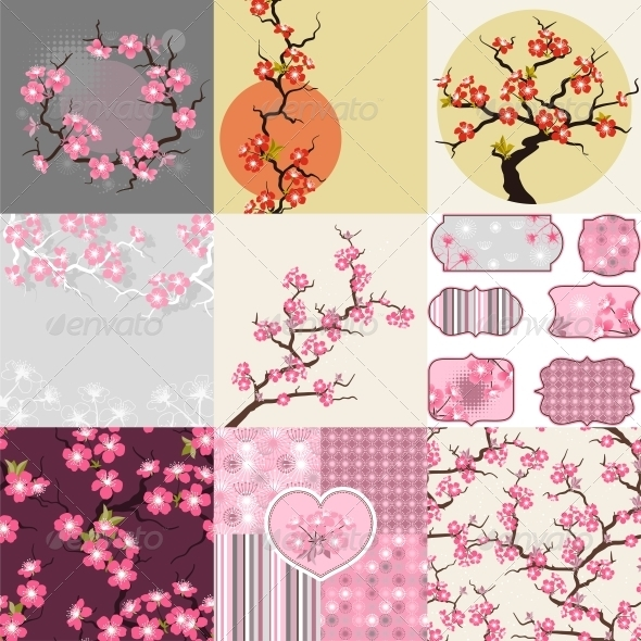Cherry Blossom Seamless Patterns, Backgrounds. - Flowers & Plants Nature