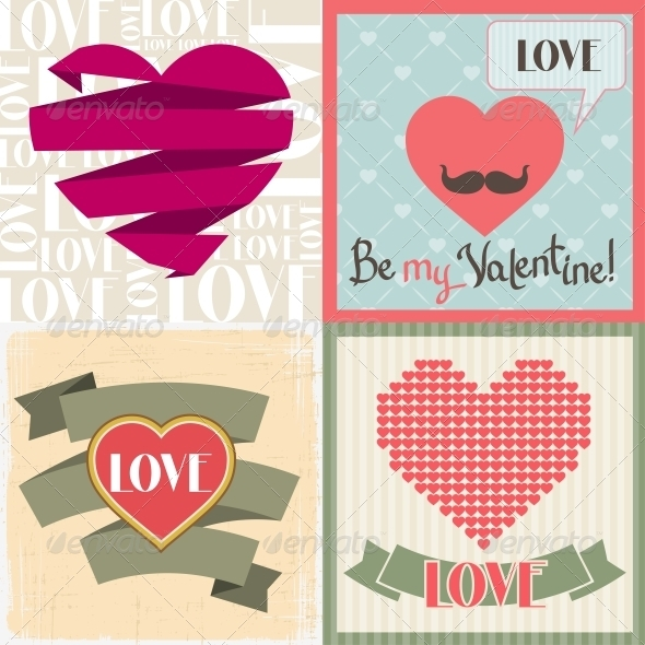 Vintage Valentines Day Set of Cards. - Valentines Seasons/Holidays