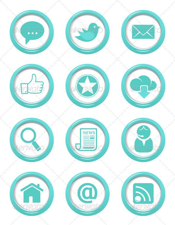 Communication Buttons Blue Set - Web Elements Vectors