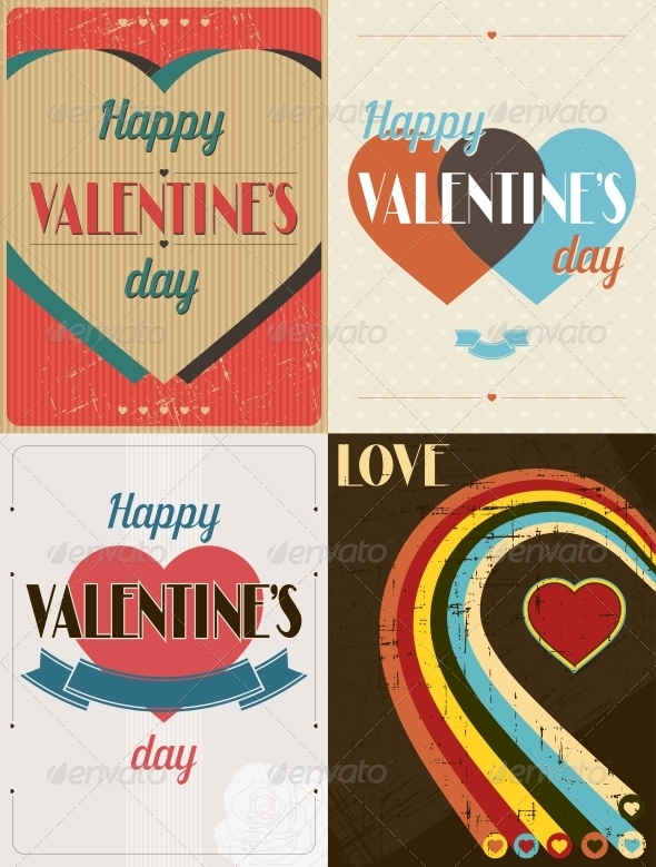 Vintage Valentines Day Set of Backgrounds. - Valentines Seasons/Holidays