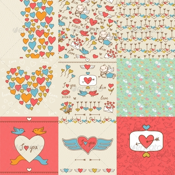Set of Valentine's Cute Doodles and Backgrounds. - Valentines Seasons/Holidays