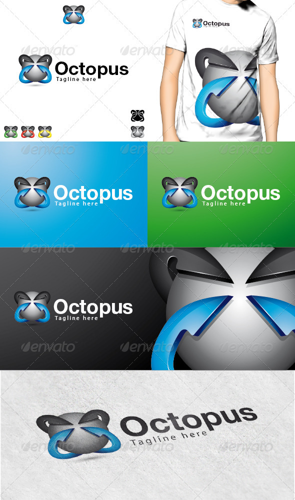 Octopus Logo - 3d Abstract