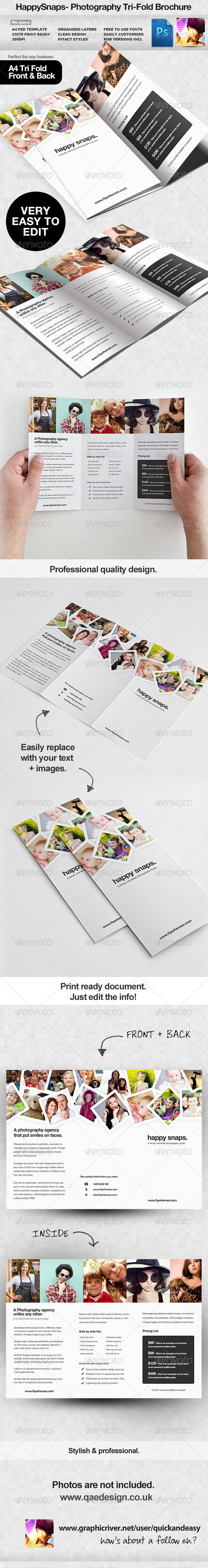 HappySnaps Photography / Photographer Tri Fold - Corporate Brochures