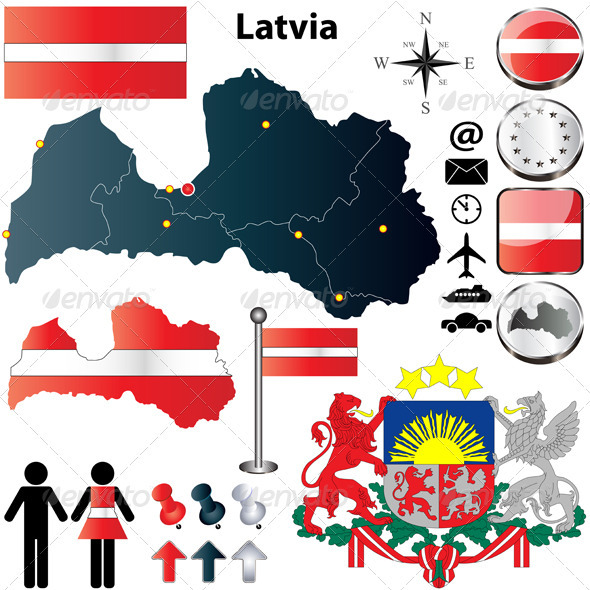 Latvia Map - Travel Conceptual