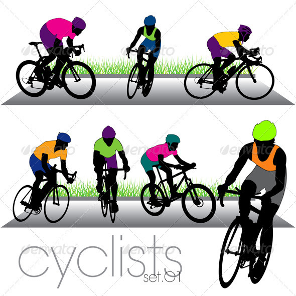 Cyclists and Bikers Silhouettes Set - Sports/Activity Conceptual