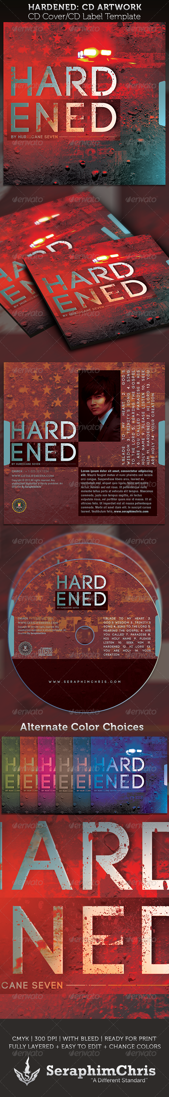 Hardened CD Cover Artwork Template - CD & DVD Artwork Print Templates