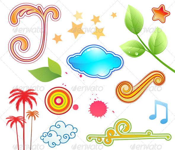 Funky Summer Design Elements - Decorative Symbols Decorative
