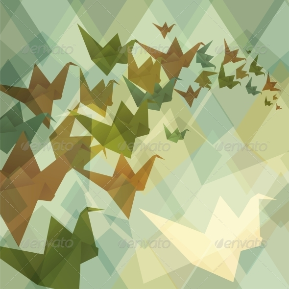 Origami Birds Background. - Patterns Decorative