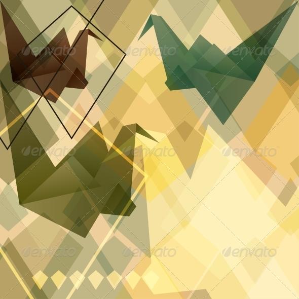 Origami Birds Background. - Patterns Decorative