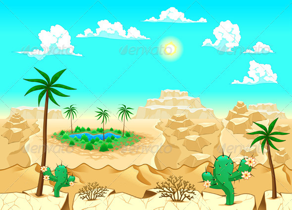 Desert with Oasis - Landscapes Nature