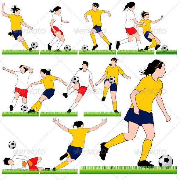 12 Female Soccer Silhouettes Set - Sports/Activity Conceptual