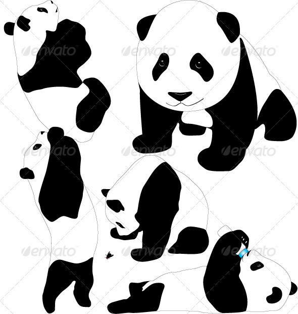 Panda Vector Silhouettes - Animals Characters