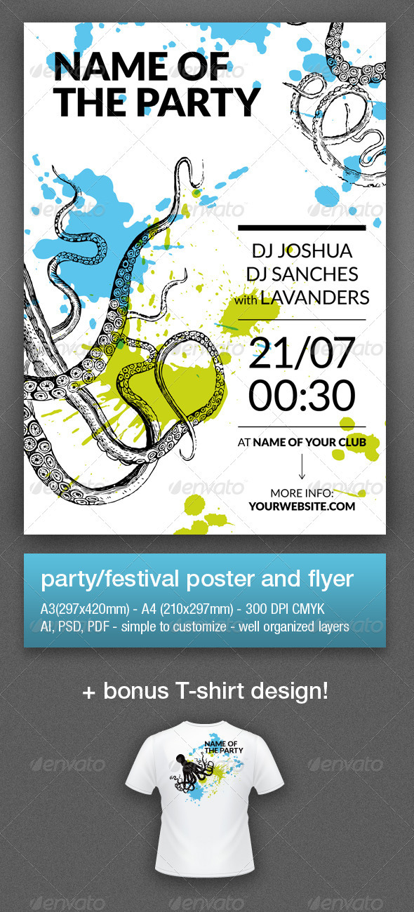 Music Party Flyer & Poster (A4, A3) - Clubs & Parties Events