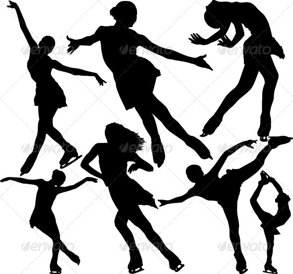 Figure Ice Skating Vector Silhouettes. - People Characters