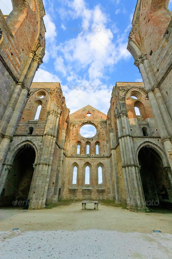 Saint or San Galgano uncovered Abbey Church ruins. Tuscany, Italy - Stock Photo - Images