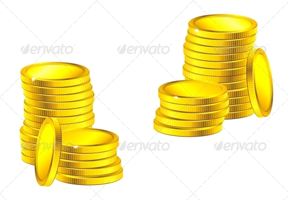 Columns of Golden Coins - Concepts Business