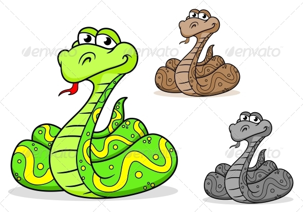 Cartoon Python Snake - Animals Characters