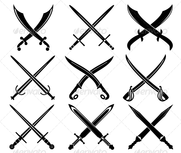 Set of Heraldic Swords and Sabers - Decorative Symbols Decorative