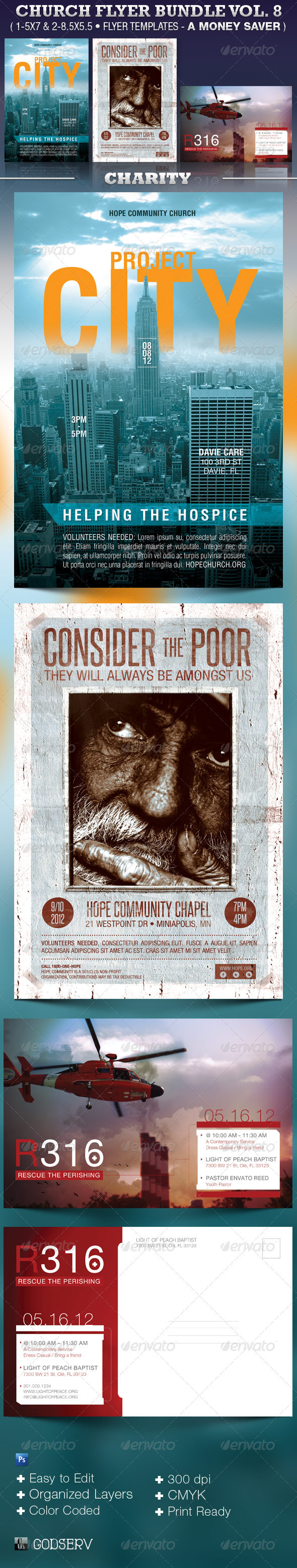 Charity Church Flyer Template Bundle - Church Flyers