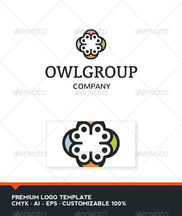 Owl Group Logo Template - Vector Abstract
