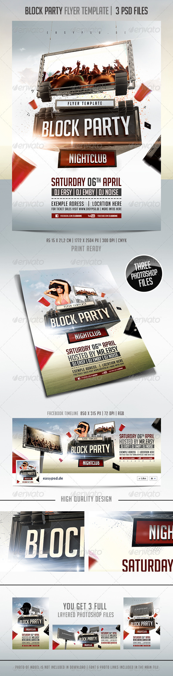 Block Party Flyer Template - Clubs & Parties Events