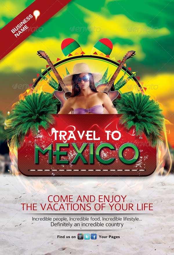 travel to mexico flyer template by juhrrex