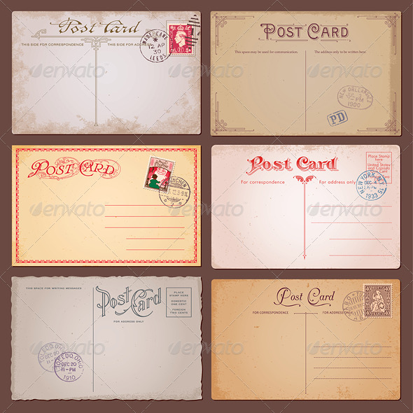 Vector Vintage Postcards - Backgrounds Decorative