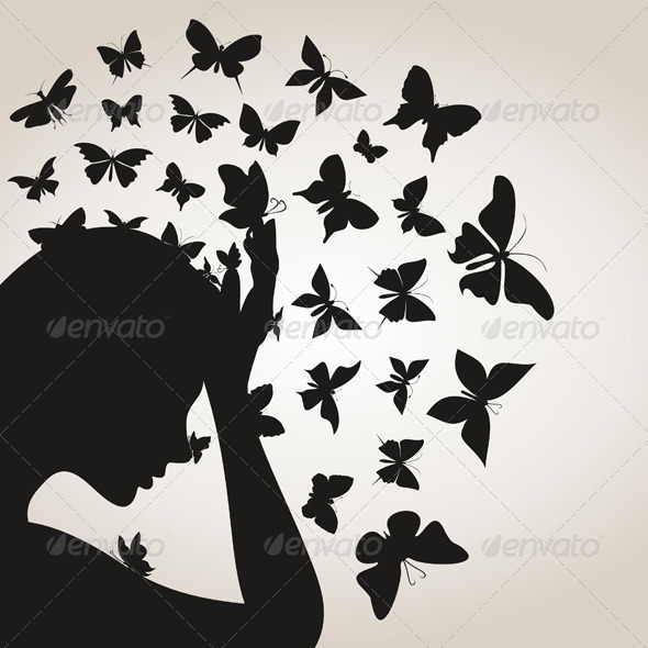 Butterflies from a head4 - People Characters