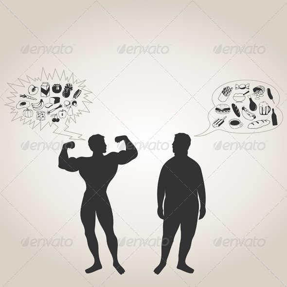 sportsman and fat man - People Characters
