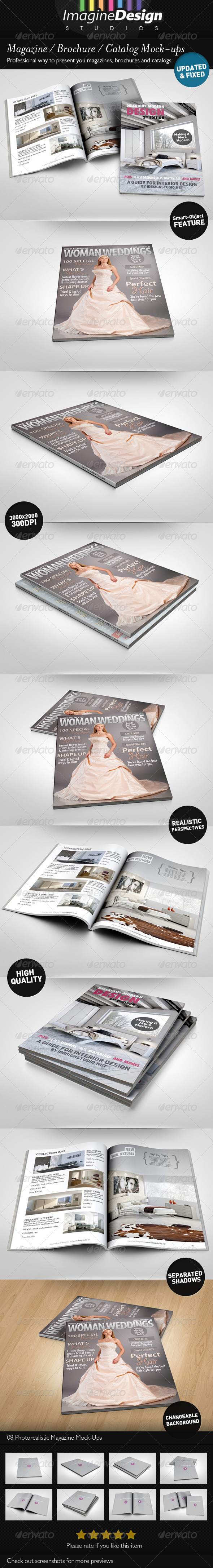 Photorealistic Brochure / Magazine Mock-up - Magazines Print