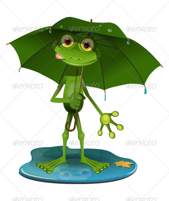 Frog with a green umbrella - Animals Characters