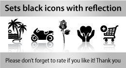 Sets black icons with reflection
