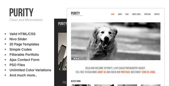 Purity: Responsive, Clean, Minimal & Bold Template