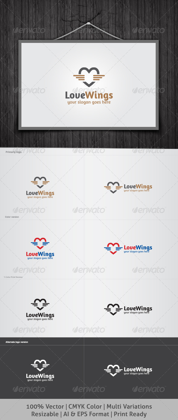 Love Wings Logo - Vector Abstract