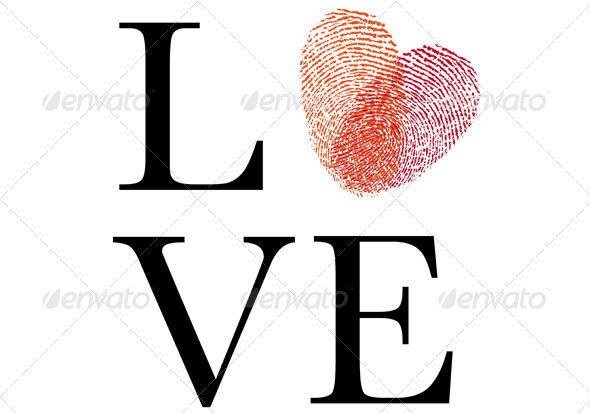 Love With Red Fingerprint Heart, Vector - Valentines Seasons/Holidays
