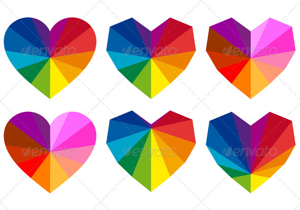 Colorful Geometric Hearts, Vector Set - Decorative Symbols Decorative